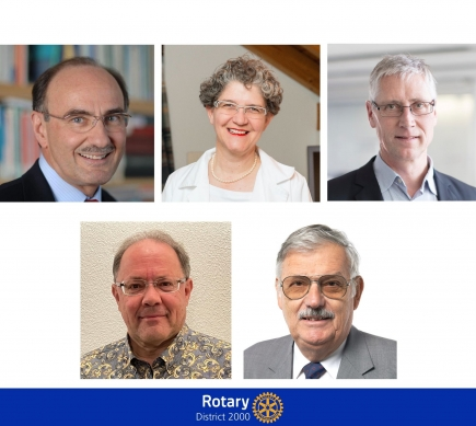(Von oben links): Rot. Felix Gutzwiller, Rot. Barbara Biedermann, Rot. Beat Gygi, PDG Hans-Peter Hulliger und DG Reto E. Fritz